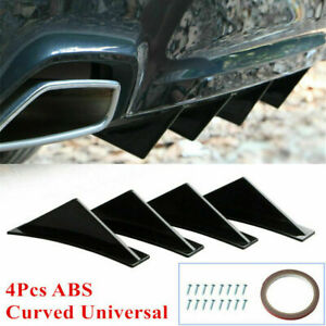 US 4X Curved Car Rear Body Bumper Diffuser Shark Fin Kit Universal Spoiler Black