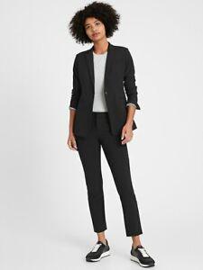 NEW Banana Republic Long & Lean Fit Washable Wool Blend Black Blazer Sz 12