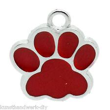 KUS 10 Charms Anhänger Rot Emaille Hundpfote für Bettelarmband Kette 18x16mm
