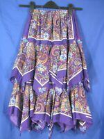 "MY PAL Norma's VINTAGE REAL BANDANA TIERED RUFFLED SKIRT Purple Paisley 21-38"" S"