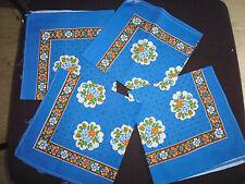 4 ancienne tissu serviette de table imprimé coton bleu vintage annnées 60