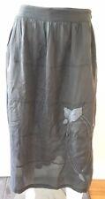 SARAH JANE green silk embroidered Skirt ~ Size L (12 14)