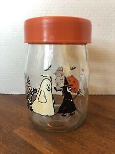 Carlton Glass 1 L Halloween Candy Jar Orange Lid Pumpkin Witch Costumes Decor