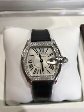 CARTIER ROADSTER DIAMOND BEZEL LADIES WOMENS WRIST WATCH LEATHER BAND WHITE GOLD