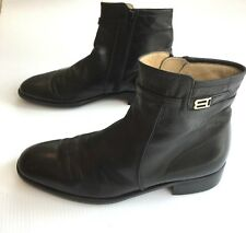 Vintage BALLY Rudy Mens Black Leather Zip Ankle Boots Size 11.5 B Made in Italy