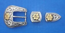 "Western Equestrian Tack Bridle/Halter (2) Silver/Gold Flower 1"" Buckle Sets"