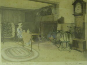 """WALLACE NUTTING SIGNED 1913 """"An Old Colony Home Room"""""""