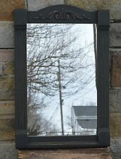 """PRiMiTiVE HANDCRAFTED BLACK ORNATE MIRROR 20"""" X 30"""" MADE IN SPRINGFIELD, OH / VT"""