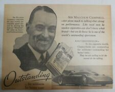 Chesterfield Cigarette: Sir Malcolm Campbell Speed Record ! 1935 12 x 15 inches