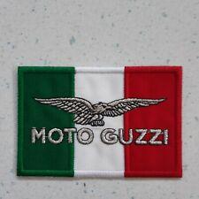 PATCH MOTO GUZZI  CON TRICOLORE E AQUILA ARGENTO TERMO CM 8X5,5-REPLICA -cod.434