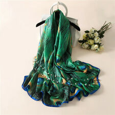 REFINED PEACOCK FEATHER SCARVES WOMEN SILK COVER UP SCARF BEACH TRAVEL SHAWL