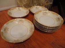 9 Noritake Japan Bone China Soup Bowl or Salad Floral Gold Rim 7.5 W Vintage