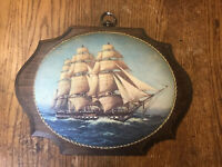 "Vintage Wood Ship Picture Wall Hang Plaque Art 12""x9"""