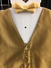 MENS GOLD/BLACK 100% SILK 2 XL full backed  TUXEDO VEST WITH ACTUAL POCKETS