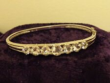 """Sterling Silver Hinged Bangle with 7 Graduated CZ Stones-size 7 1/4"""""""