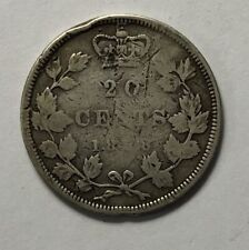 1858 Canada Silver 20 cents - Slightly bent, Rim Dents