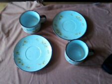 Made in Japan speckled soup mugs /matching saucers.  yellow dandelion pattern