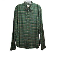 J.Crew Green Plaid Button Down Shirt Flannel Long Sleeve Cotton Mens Sz Large L