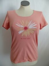 Life Is Good Peach Daisy Print T-Shirt Women's M Medium Classic Fit BE YOU TIFUL