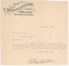 1909 Muskogee Oklahoma Farm Loans Letterhead - F.M. Gwinnup & Son