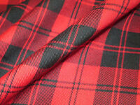 FREE SHIPPING ~ RED MENZIES TARTAN FABRIC POLY / VISCOSE - SALE BY 5 YARDS ~