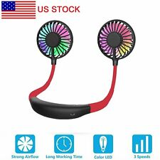 Portable Rechargeable Neckband Neck Hanging Dual Cooling Mini Fan Personal Led