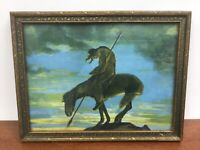 FRAMED ANTIQUE NATIVE AMERICAN PRINT, END OF THE TRAIL, CIRCA 1920's