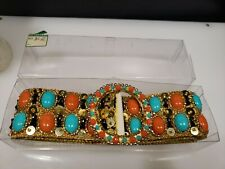 """Vintage 60S New Old Stock Boutique Hand Beaded Bling Belt Stunning! 35"""" Long"""