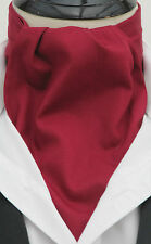 Mens Plain Burgundy 100% Quality Cotton Ascot Cravat & Handkerchief - Made in UK