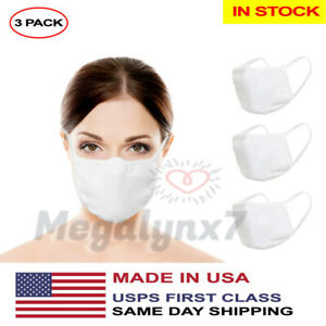 Washable Reusable Face Mask Mouth Cover, Unisex (In Stock) 3 Pack - Made In USA
