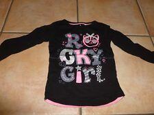 Tunika Shirt - 98-  GIRLIE -  Spruch - pink silber Glitzer - WIE NEU