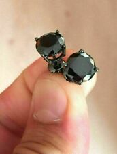 2.00 Ct Round-Cut Black Diamond Solitaire Stud Earrings 14K Black Gold Over