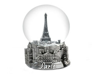 PARIS FRANCE EIFFEL TOWER  IN SILVER TONE - EXCLUSIVE 65MM SNOW GLOBE-NEW