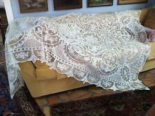 Beautiful Large Antique Victorian Handmade Needlelace Linen Tablecloth 66x100