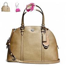 NWT Coach Peyton Leather Cora Domed Satchel - Gold COACH F25671