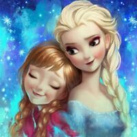 5D Diamond Painting Round Rhinestones Cartoon Anna And Elsa Kits Art Decor