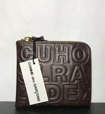 COMME DES GARÇONS Brown Leather Letter Embosse Slim Wallet,New with tag,Box,read