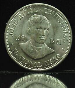 1961 Jose Rizal 1 Peso Philippines Silver Coin