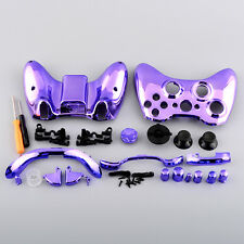 Hot Chrome Purple Ful​l Case Cover +Button Kit For Xbox 360 Wireless Controller