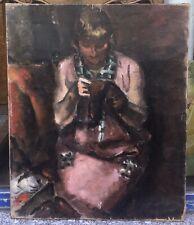 Tableau Ancien Huile Portrait Femme Couture École De Paris Signé Polonais ? 1920