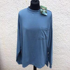 Vintage OshKosh B'Gosh Mens Blue 100% Cotton Long Drop Sleeve Top T-shirt Size L