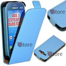 Étui Flip pour Samsung Galaxy Ace 3 S7270 S7275 S7272 Duos Simil Cuir Bleu Ciel