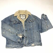 Abercrombie Distressed Denim Jean Jacket Coat, Lined Insulated Youth XL