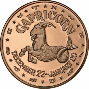 Lot of 100 - 1 oz Copper Round - Capricorn