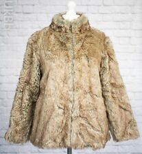 Cotton Traders Faux Fur Coat Size 16 Light Brown Beige NEW