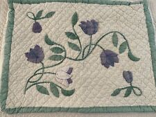 VINTAGE Hand Crafted & Quilted Hand Applique Purple Tulip QUILT SHAM #613