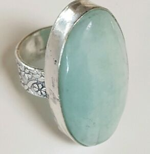 Huge 45 Carat Sterling Silver Natural Milky Aquamarine Ring 12 Grams Size 6