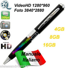 SPY PEN Silver HD PENNA SPIA MICROSPIA VIDEOCAMERA Nascosta 1280x960 up to 32GB