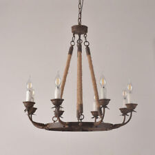 Rustic Iron Flaxen Hemp Rope Round Candle Pendant Lighting Kitchen Chandelier