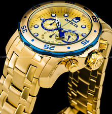 Invicta 48mm Men's Pro Diver Scuba Chronograph 18K Gold Plated SS 200MT Watch !